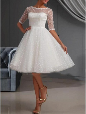 A-Line Wedding Dresses Jewel Neck Knee Length Lace Tulle Short Sleeve Casual Vintage See-Through Cute Illusion Sleeve_3