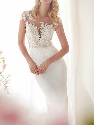 Mermaid \ Trumpet Wedding Dresses Jewel Neck Court Train Satin Cap Sleeve Sexy See-Through Illusion Detail_2