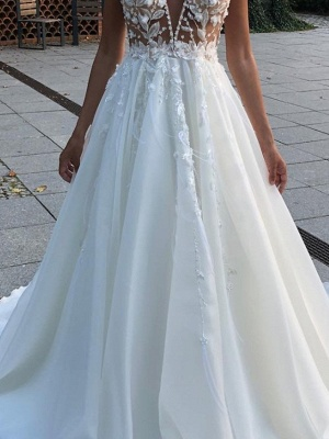 A-Line Wedding Dresses V Neck Spaghetti Strap Sweep \ Brush Train Lace Sleeveless Country Plus Size_3