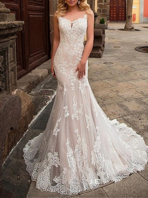 Mermaid \ Trumpet Jewel Neck Sweep \ Brush Train Detachable Lace Tulle Chiffon Over Satin Sleeveless Formal Sexy See-Through Wedding Dresses_3