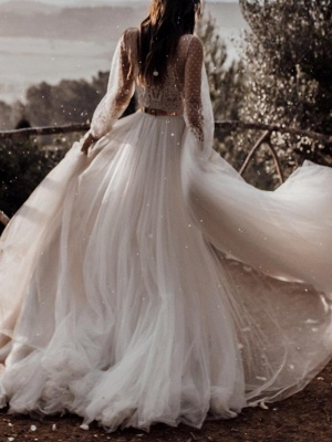 A-Line Wedding Dresses V Neck Sweep \ Brush Train Lace Tulle Long Sleeve Boho Sexy See-Through_2