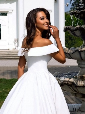 Ball Gown A-Line Wedding Dresses Off Shoulder Cathedral Train Polyester Short Sleeve_4