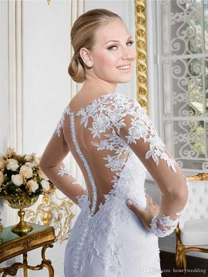 Mermaid \ Trumpet Wedding Dresses Jewel Neck Court Train Lace Long Sleeve Formal Beach Sexy Illusion Sleeve_4