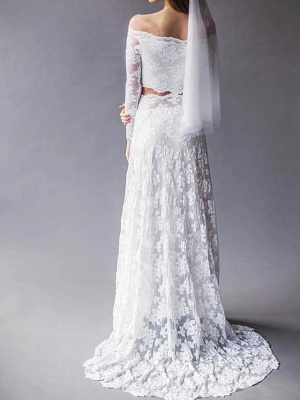 Two Piece Wedding Dresses Off Shoulder Sweep \ Brush Train Lace Long Sleeve Beach Boho Sexy See-Through_2