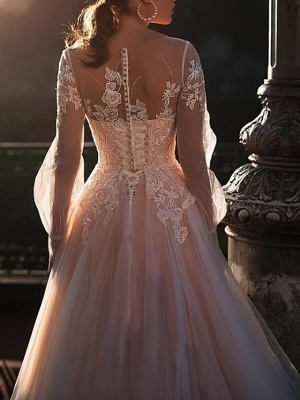 A-Line Wedding Dresses Jewel Neck Sweep \ Brush Train Lace Tulle Long Sleeve Sexy Wedding Dress in Color See-Through_3