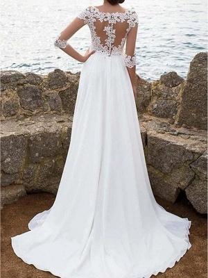 A-Line Wedding Dresses Jewel Neck Sweep \ Brush Train Chiffon Lace 3\4 Length Sleeve Boho Plus Size Illusion Sleeve_2