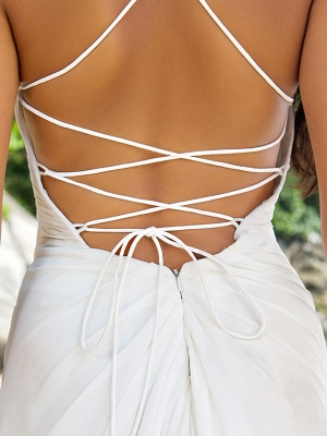 Sheath \ Column Wedding Dresses V Neck Sweep \ Brush Train Chiffon Spaghetti Strap Beach Sparkle & Shine Backless_7