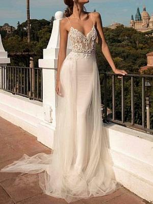 A-Line Wedding Dresses V Neck Sweep \ Brush Train Chiffon Spaghetti Strap Boho Illusion Detail