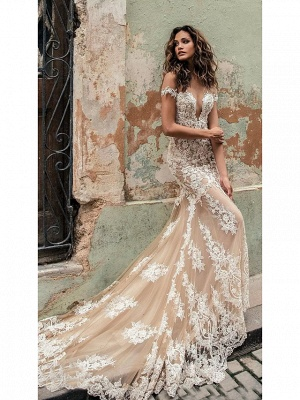 Mermaid \ Trumpet Off Shoulder Court Train Lace Regular Straps Country Formal Casual Wedding Dresses_1