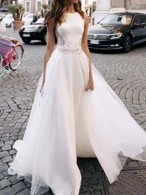 A-Line Wedding Dresses Jewel Neck Sweep \ Brush Train Lace Tulle Regular Straps Casual Beach Backless_1