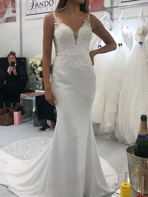 Mermaid \ Trumpet Spaghetti Strap Court Train Polyester Sleeveless Country Plus Size Wedding Dresses_1