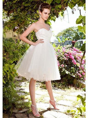 Ball Gown Wedding Dresses Sweetheart Neckline Knee Length Taffeta Tulle Strapless See-Through_3