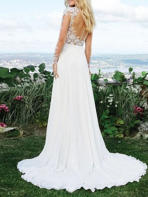 A-Line Wedding Dresses V Neck Sweep \ Brush Train Polyester Long Sleeve Vintage Illusion Detail_3