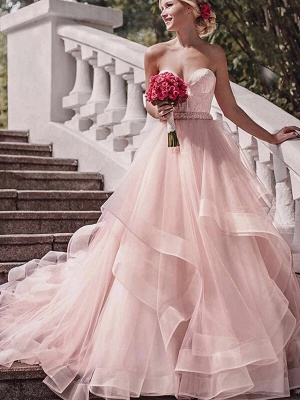 Ball Gown Wedding Dresses Strapless Court Train Lace Tulle Strapless Sexy Wedding Dress in Color Plus Size_2