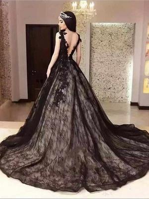 A-Line Jewel Neck Court Train Lace Satin Tulle Regular Straps Black Wedding Dresses_2