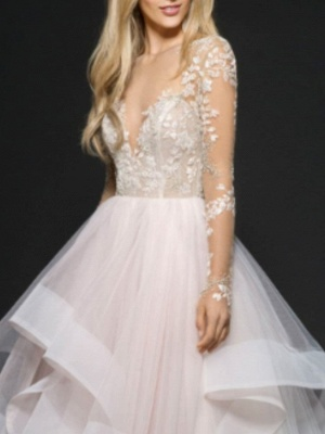 A-Line Wedding Dresses V Neck Floor Length Lace Tulle Long Sleeve Illusion Sleeve_2