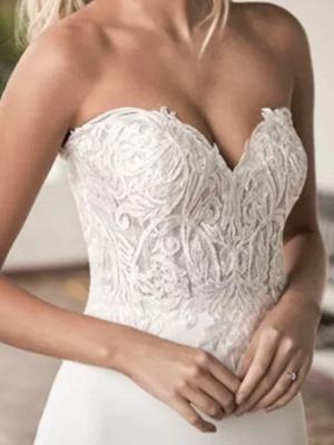 A-Line Wedding Dresses Off Shoulder Court Train Lace Satin Tulle Short Sleeve Formal_2