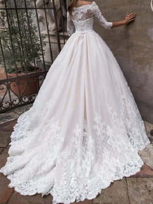 A-Line Off Shoulder Court Train Lace Tulle 3\4 Length Sleeve Country Plus Size Wedding Dresses_3