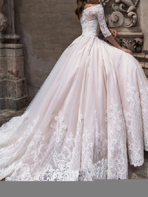 A-Line Off Shoulder Court Train Lace Tulle 3\4 Length Sleeve Country Plus Size Wedding Dresses_2