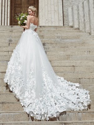 Ball Gown Wedding Dresses Strapless Court Train Tulle Strapless Country Glamorous Plus Size_4