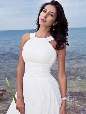 A-Line Wedding Dresses Jewel Neck Sweep \ Brush Train Chiffon Regular Straps Formal Beach Plus Size_3