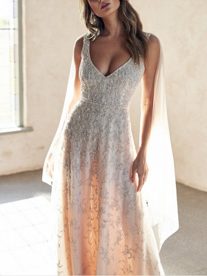 A-Line Wedding Dresses V Neck Chapel Train Lace Sleeveless Sexy Wedding Dress in Color_3