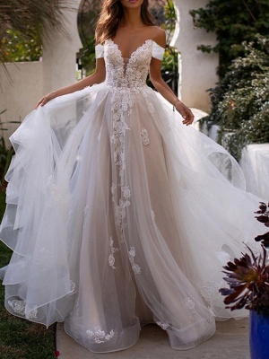 A-Line Wedding Dresses Off Shoulder Sweep \ Brush Train Lace Tulle Sleeveless Country Plus Size_1