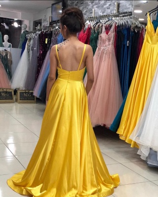 ZY139 Evening Dresses Plain Yellow Long Evening Dress With V Neckline_3