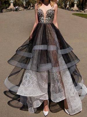 A-Line Wedding Dresses Strapless Floor Length Polyester Strapless Formal Plus Size Black Modern_2
