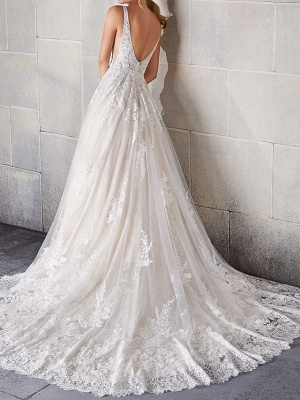 A-Line Wedding Dresses Spaghetti Strap Sweep \ Brush Train Lace Tulle Sleeveless Country Plus Size_2