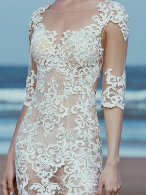 Mermaid \ Trumpet Wedding Dresses Scoop Neck Sweep \ Brush Train Lace Tulle Half Sleeve Beautiful Back_7