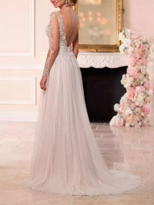A-Line Wedding Dresses V Neck Sweep \ Brush Train Lace Tulle Long Sleeve Romantic See-Through Backless_2