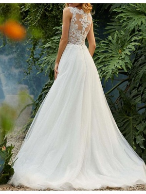 A-Line Wedding Dresses Jewel Neck Sweep \ Brush Train Tulle Regular Straps Romantic Boho Backless_2