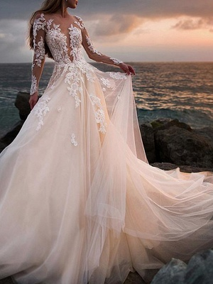A-Line Wedding Dresses Jewel Neck Court Train Lace Tulle Long Sleeve Beach Sexy See-Through_1