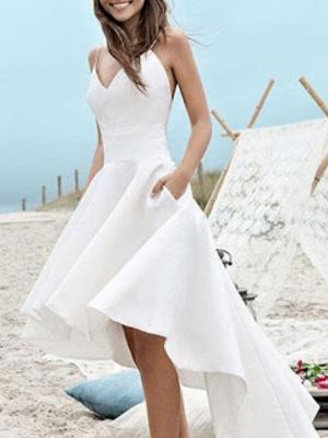 A-Line Wedding Dresses V Neck Spaghetti Strap Asymmetrical Satin Sleeveless Simple Little White Dress 1950s_3