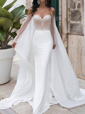 Mermaid \ Trumpet Wedding Dresses Sweetheart Neckline Sweep \ Brush Train Polyester Long Sleeve Romantic See-Through Illusion Detail Backless_2