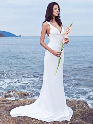 Mermaid \ Trumpet Wedding Dresses V Neck Sweep \ Brush Train Chiffon Regular Straps Beach Backless_4