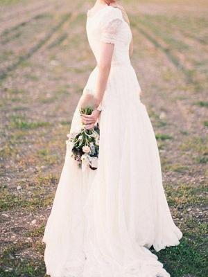 A-Line Wedding Dresses V Neck Sweep \ Brush Train Chiffon Lace Taffeta Cap Sleeve Country Plus Size_2