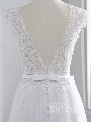 Cheap Jewel Backless Lace A-Line Wedding Dresses_8