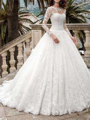 A-Line Wedding Dresses Jewel Neck Sweep \ Brush Train Tulle Long Sleeve Formal Illusion Sleeve_1