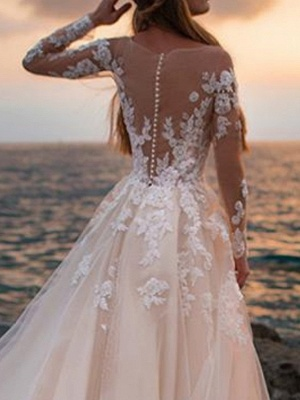 A-Line Wedding Dresses Bateau Neck Court Train Lace Tulle Long Sleeve Formal See-Through Illusion Sleeve_4