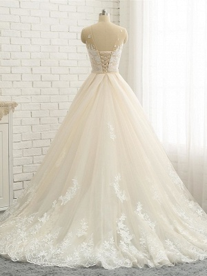 Mermaid \ Trumpet Jewel Neck Chapel Train Lace Tulle Lace Over Satin Regular Straps Formal See-Through Wedding Dresses_5