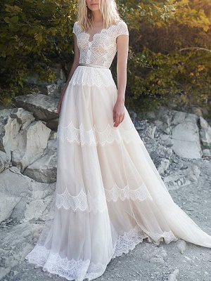 A-Line Wedding Dresses V Neck Sweep \ Brush Train Tulle Cap Sleeve Illusion Detail Backless_1