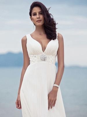 Sheath \ Column Wedding Dresses Straps V Neck Sweep \ Brush Train Floor Length Chiffon Sleeveless_5