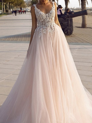 A-Line Wedding Dresses V Neck Spaghetti Strap Sweep \ Brush Train Lace Tulle Sleeveless Beach Sexy Backless_3