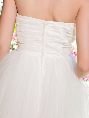 Ball Gown Wedding Dresses Sweetheart Neckline Knee Length Taffeta Tulle Strapless See-Through_7