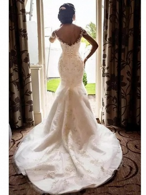 Mermaid \ Trumpet Wedding Dresses Scoop Neck Court Train Lace Tulle Lace Over Satin Long Sleeve Romantic Sexy See-Through Illusion Sleeve_4