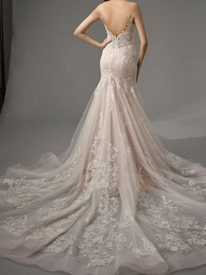 Mermaid \ Trumpet Wedding Dresses Spaghetti Strap Sweep \ Brush Train Lace Tulle Sleeveless Sexy See-Through Backless_3