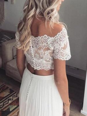 Two Piece Wedding Dresses Jewel Neck Sweep \ Brush Train Chiffon Lace Short Sleeve Beach Boho Sexy See-Through_2