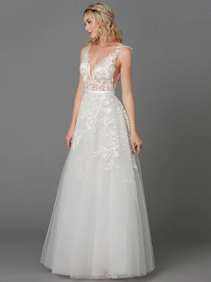 A-Line Wedding Dresses Plunging Neck Floor Length Lace Tulle Sleeveless See-Through_6